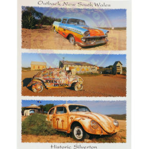 Silverton painted cars postcard